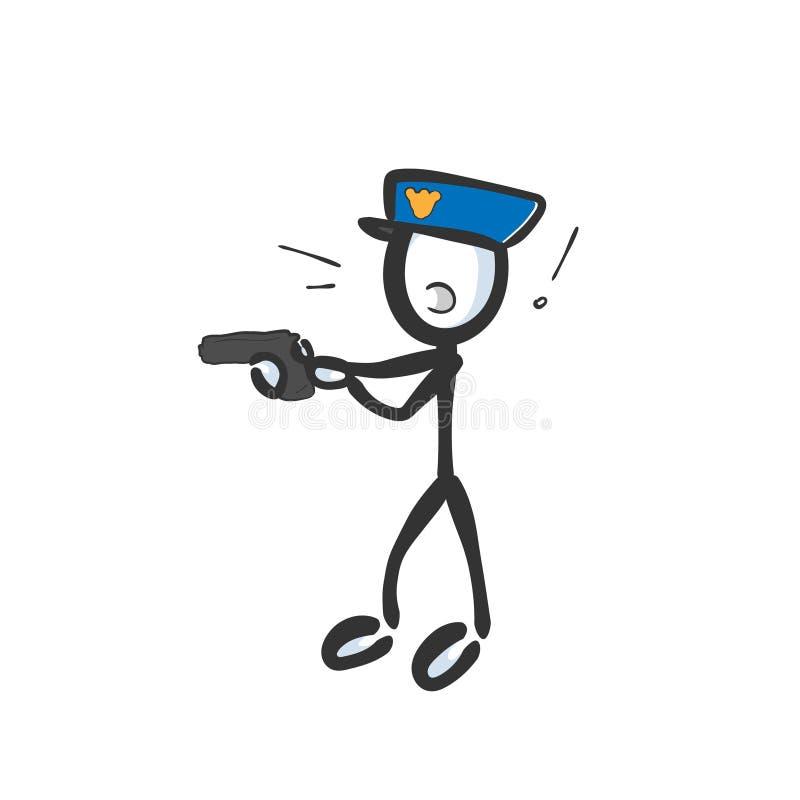 警察逮捕持枪犯 手绘 斯蒂克曼动画 涂鸦草图,矢量图图解 向量例证