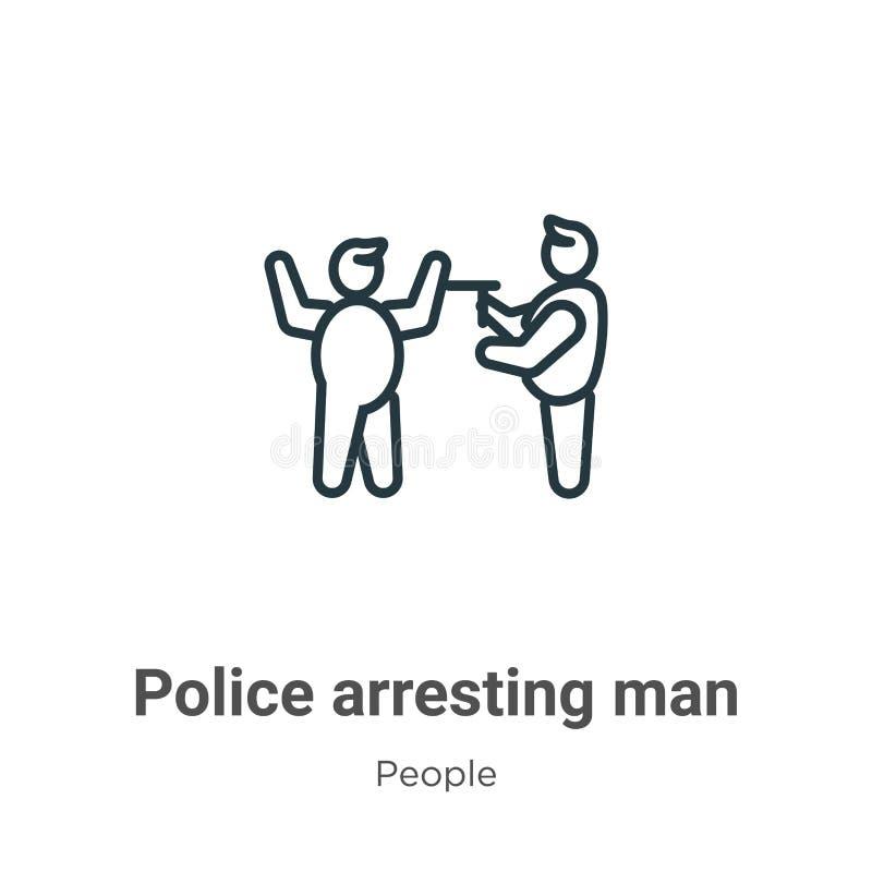 警察逮捕男子轮廓矢量图图标 细线黑色警察逮捕男子图标,平面矢量简单元素图 库存例证