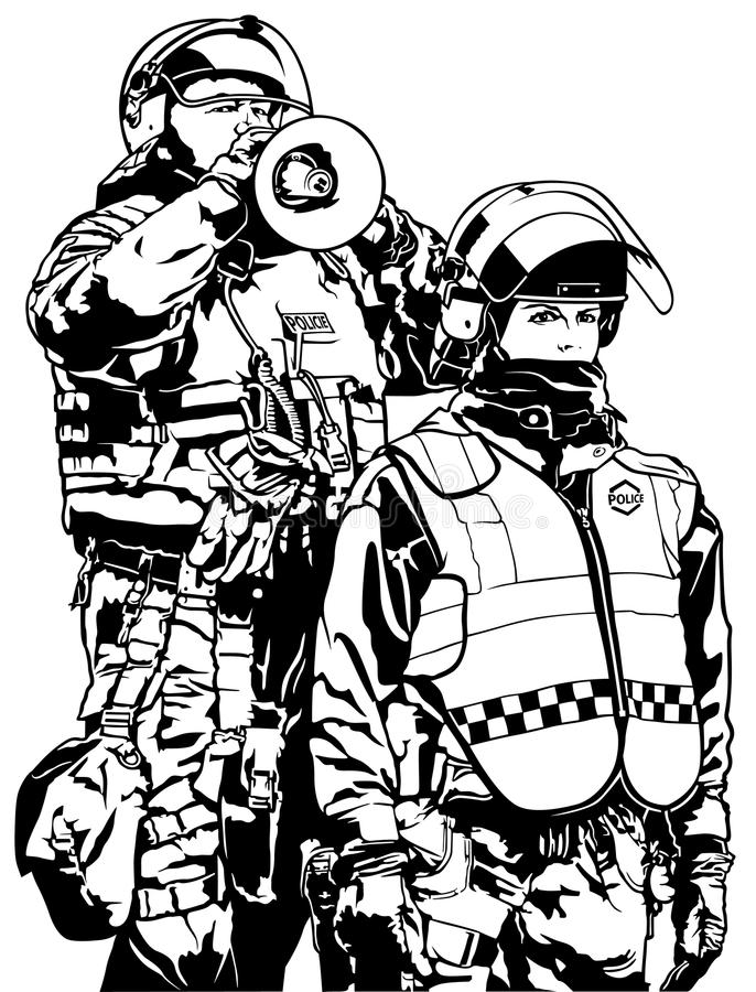 警察重的装甲 库存例证