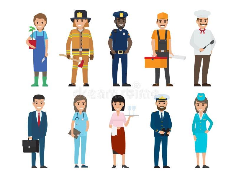 警察,救护设备,水手,厨师,空中小姐 皇族释放例证