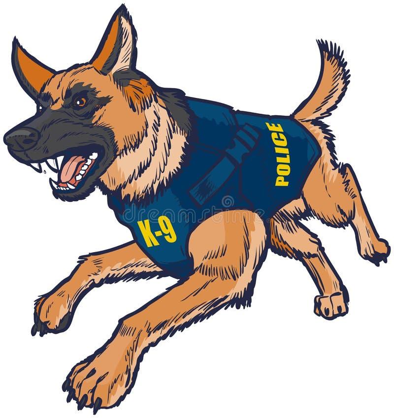 警察K9与防弹背心例证的德国牧羊犬狗 向量例证