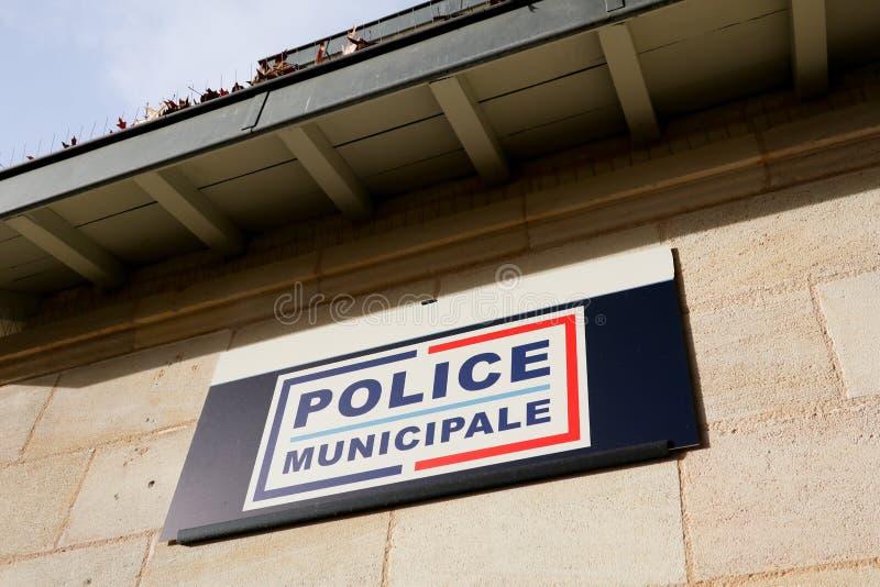警察municipale在法国市政警察大厦意味在法国在城市市长下当局  图库摄影