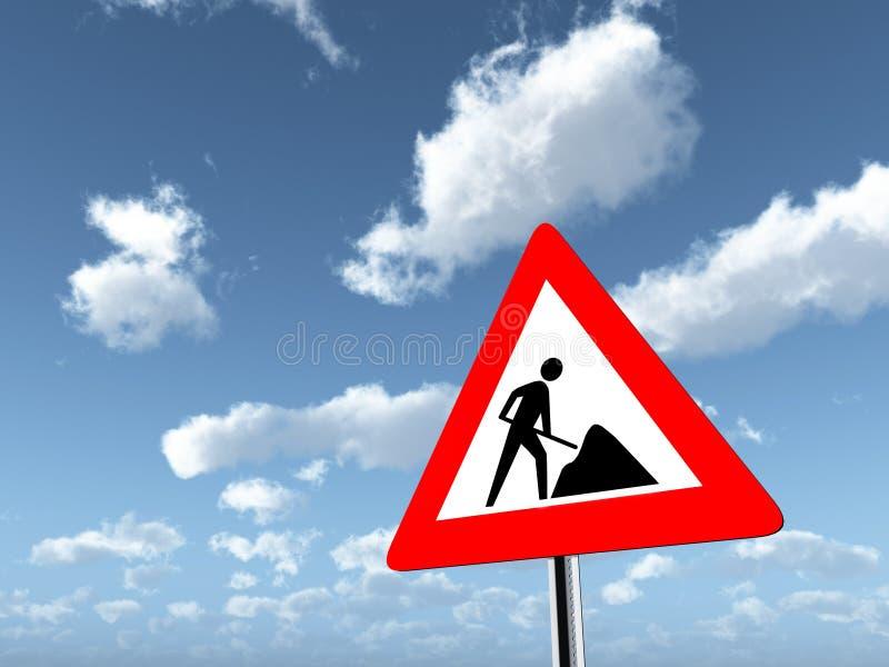 警报信号道路工程 皇族释放例证