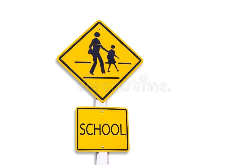 警报信号,与积土裁减路线的学校标志容易对dicut 免版税库存图片