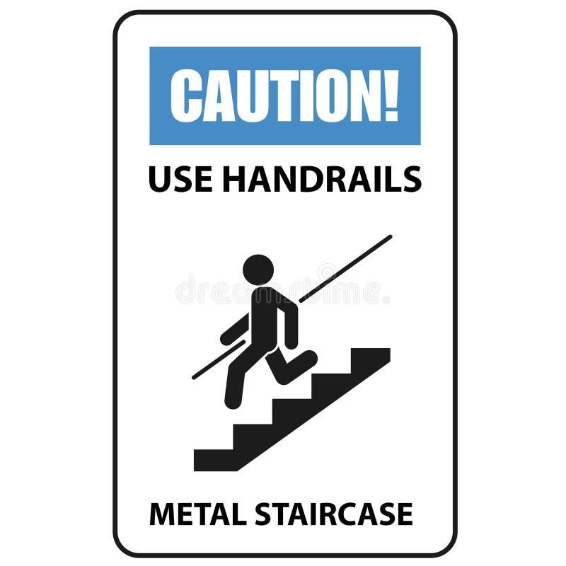 警报信号-使用扶手栏杆避免秋天,楼梯 向量例证