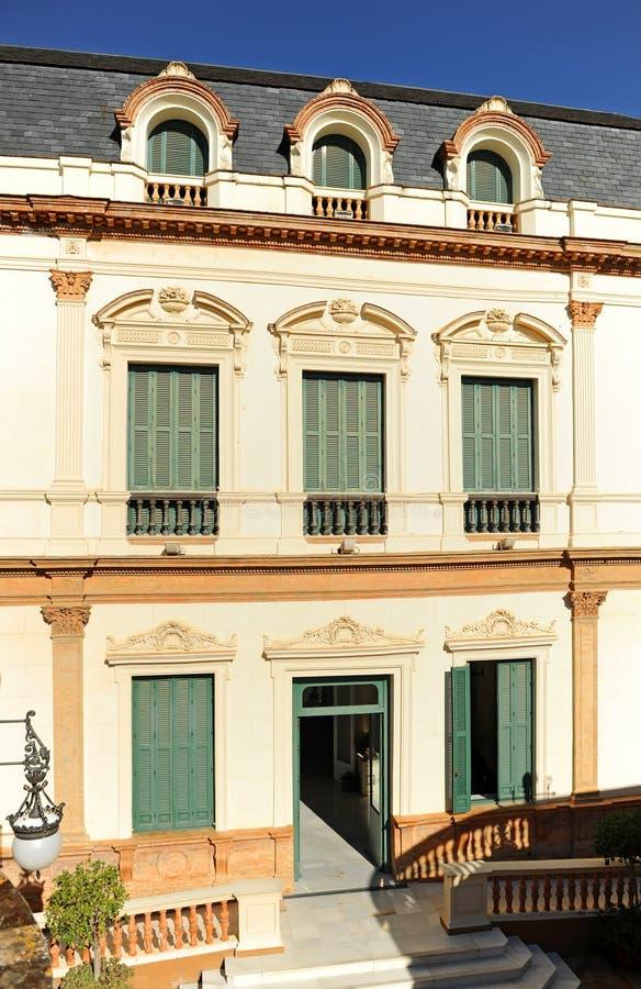 警报器的议院, Casa de las Sirenas,阿拉米达de赫拉克勒斯,塞维利亚,西班牙 免版税库存图片