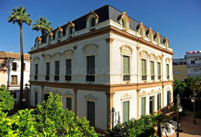 警报器的议院, Casa de las Sirenas,阿拉米达de赫拉克勒斯,塞维利亚,西班牙 免版税图库摄影