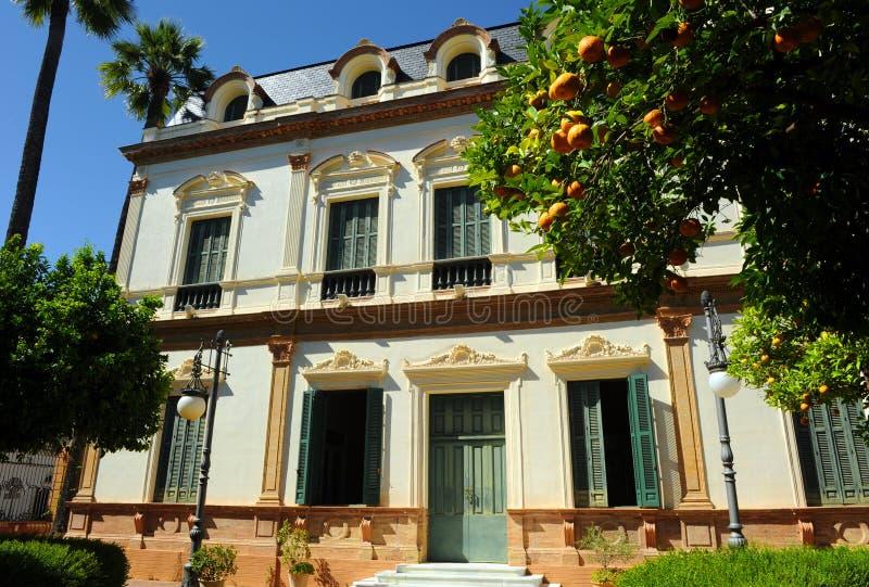 警报器的议院, Casa de las Sirenas,阿拉米达de赫拉克勒斯,塞维利亚,西班牙 图库摄影