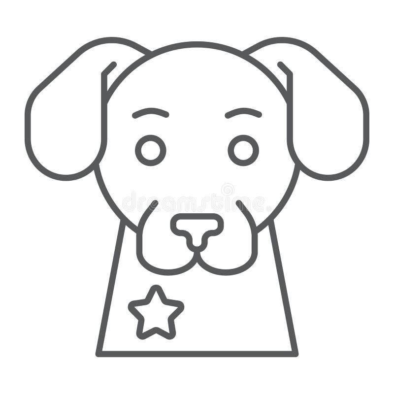 警犬稀薄的线象,卫兵和宠物,动物标志,向量图形,在白色背景的一个线性样式 库存例证
