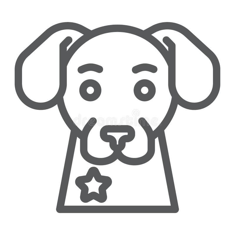 警犬线象,卫兵和宠物,动物标志,向量图形,在白色背景的一个线性样式 库存例证