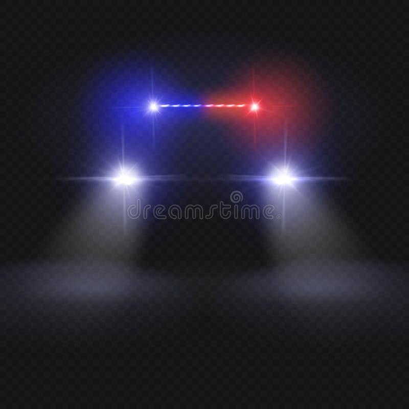 警车在黑暗的透明背景的车前灯光束 在夜路传染媒介概念的汽车 库存例证