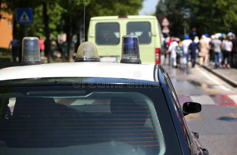 警车的警报器 免版税库存照片