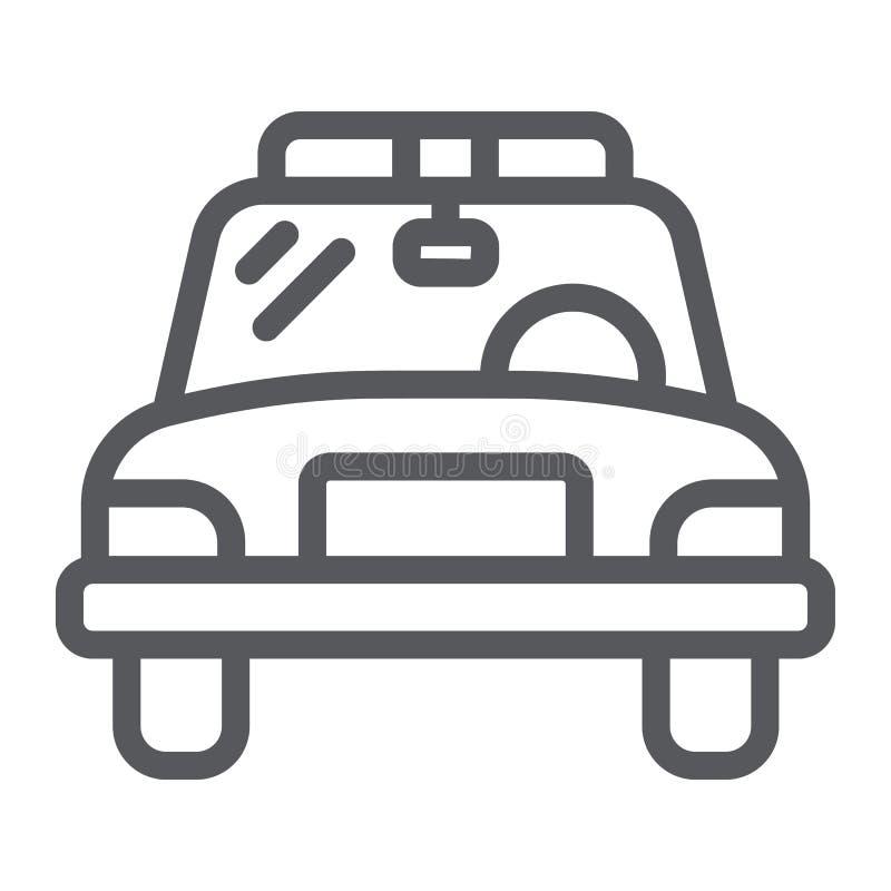 警车线象,车和汽车,警长汽车标志,向量图形,在白色背景的一个线性样式 皇族释放例证