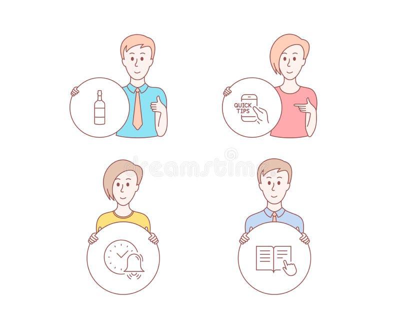 警钟、白兰地酒瓶和教育象 读指示标志 时间,威士忌酒,快的技巧 被开张的书 向量 向量例证
