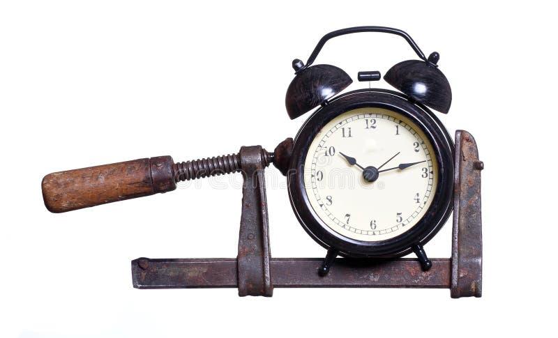 警钟在压力下在钳位 免版税库存图片