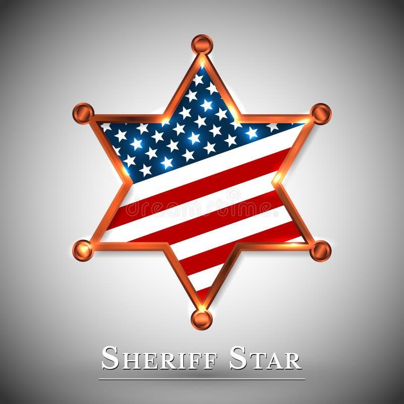 警长徽章与美国的星的贺卡 库存例证