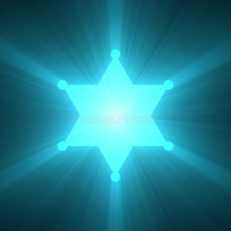 警长徽章星光亮的火光 库存例证