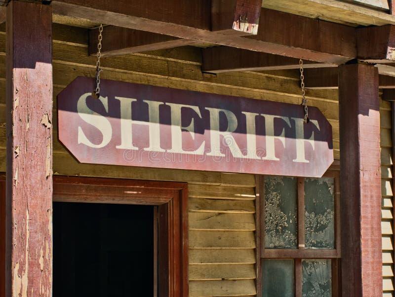 警长标志办公室远的西部阶段外部大厦 库存照片