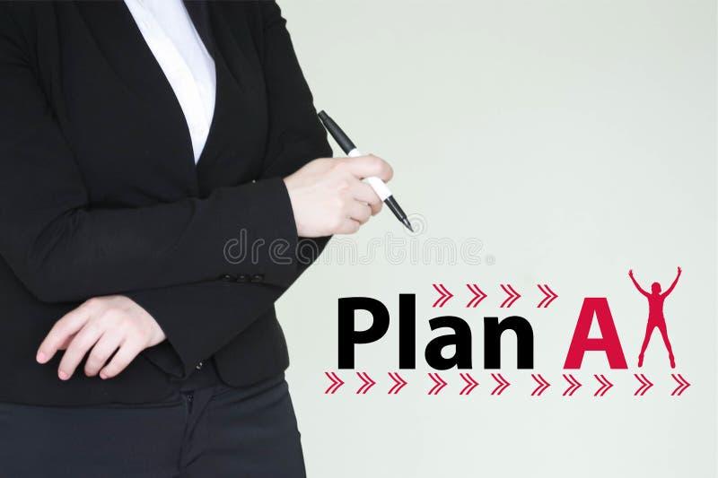 计划一个概念 女孩女商人 免版税库存照片