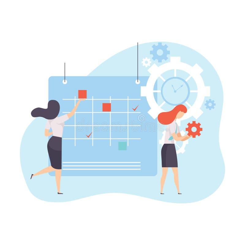 计划他们的在日历,时间管理企业概念传染媒介例证的女实业家项目议程 向量例证