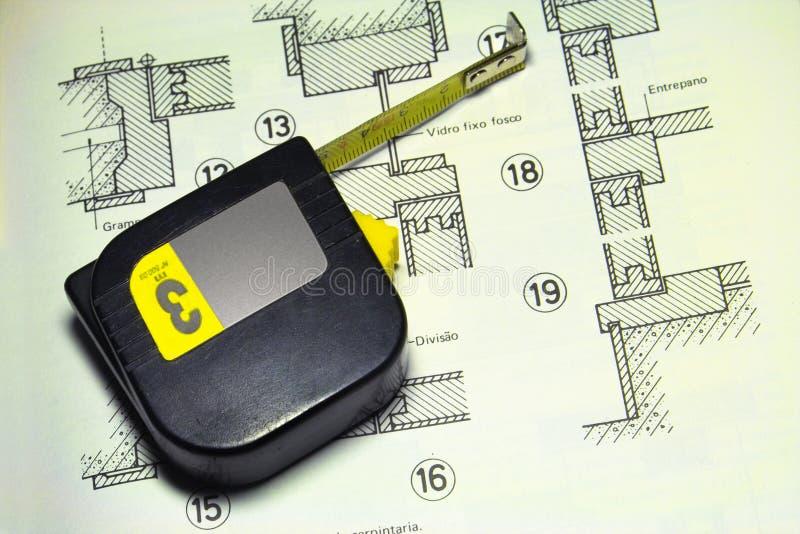 计划和措施磁带 免版税库存图片