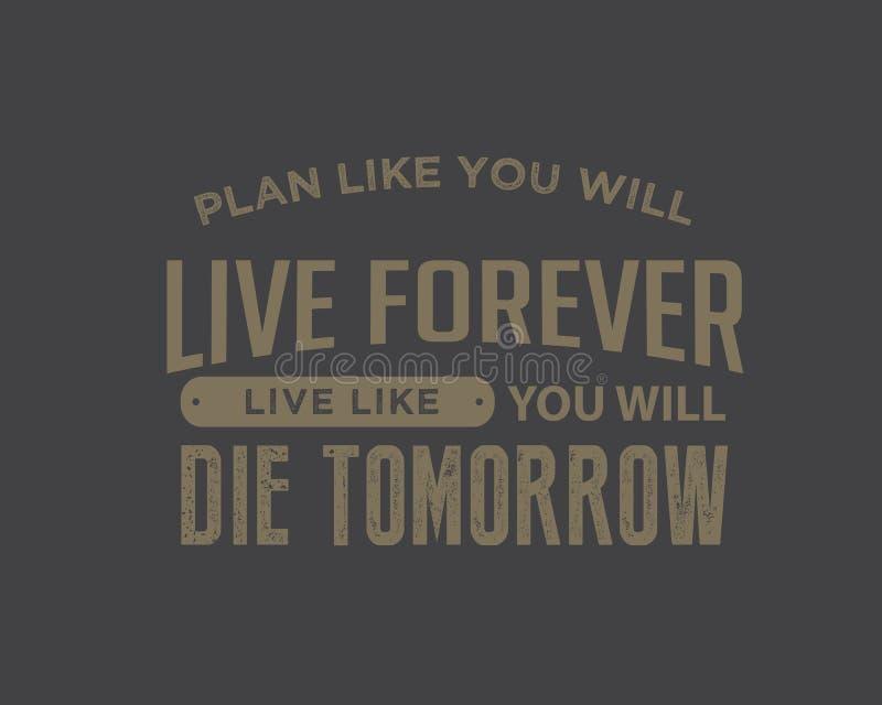 计划喜欢您永远将居住,居住象您明天将死 皇族释放例证