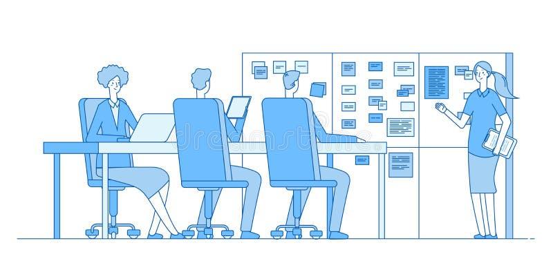 计划委员会会议 在任务委员会的人训练在办公室教室里面 配合企业传染媒介线概念 皇族释放例证
