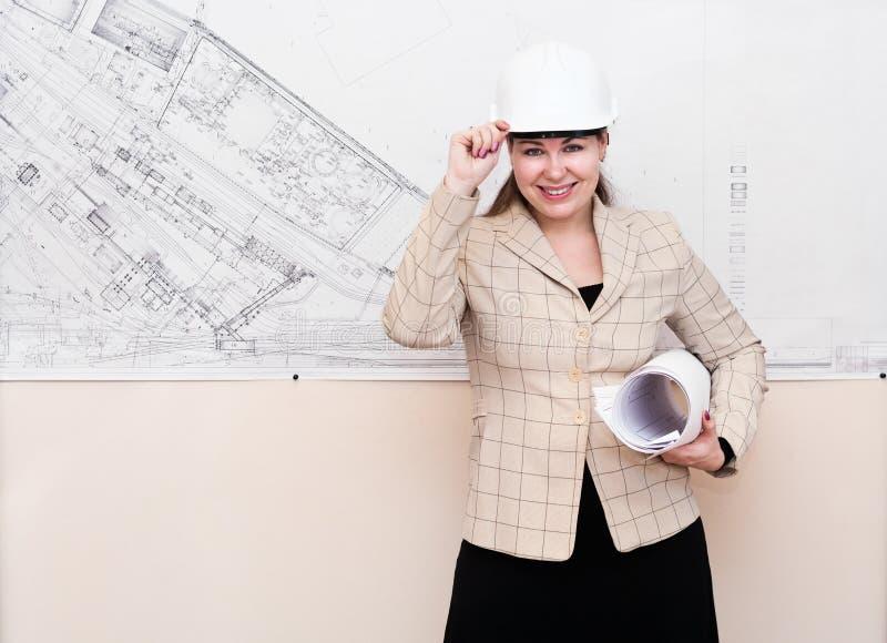 计划安全帽妇女 免版税库存照片