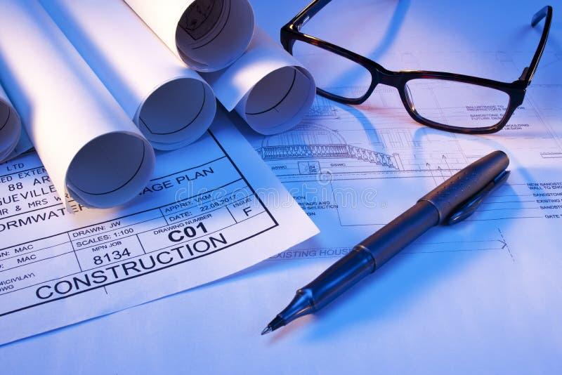 计划建筑家庭房子计划 免版税库存图片