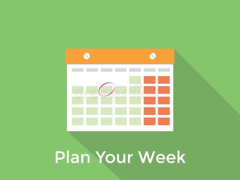 计划您的与日历和长的阴影绿色背景的星期概念 向量例证