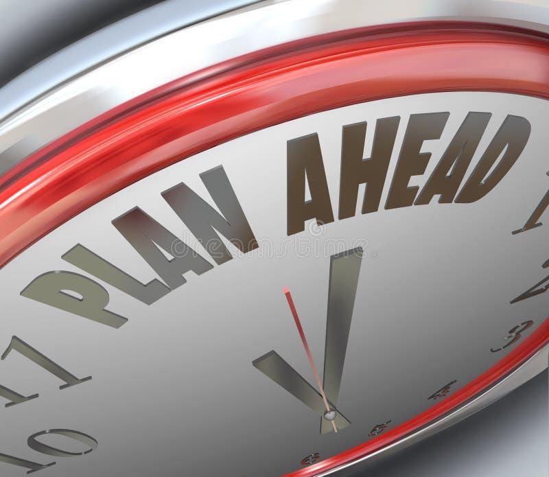 计划时钟时间前面未来规划战略 向量例证