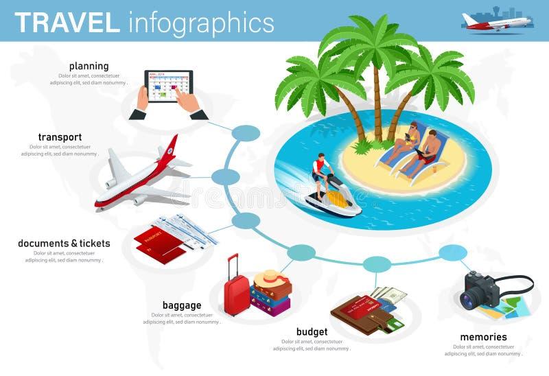 计划的等量infographics概念您的假期、旅行您的事务的,网站,介绍,给等做广告 向量例证