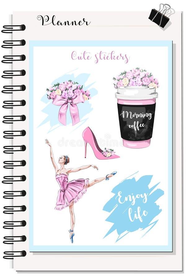 计划者的逗人喜爱的贴纸:有花的咖啡杯,花花束,美丽的芭蕾舞女演员 库存例证