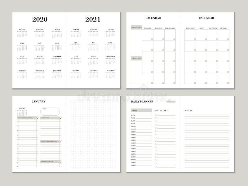 计划者设计模板2020 2021年 与清单的每周和月度计划者设计,做名单和被加点的纸 皇族释放例证