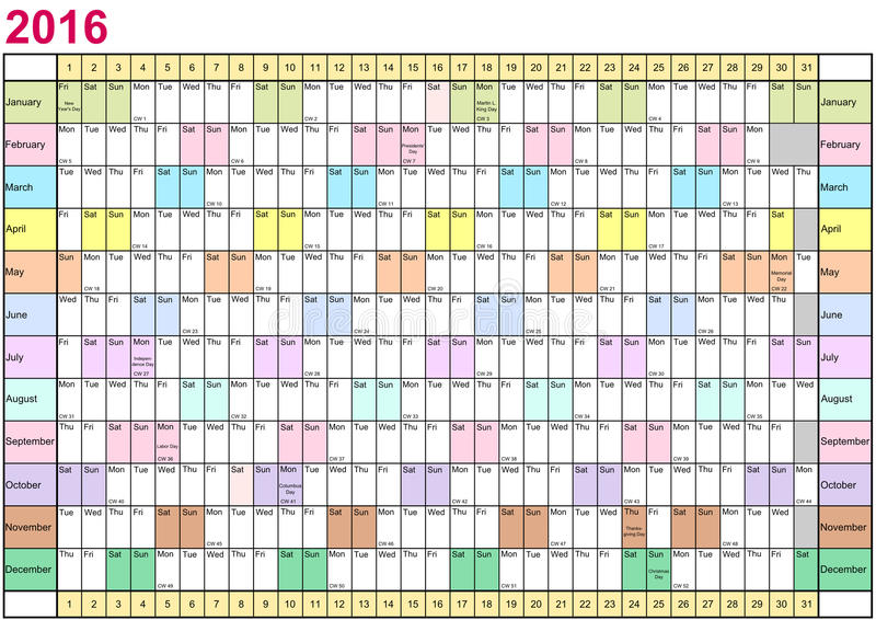 年计划者2016线性每个月用不同的颜色 向量例证