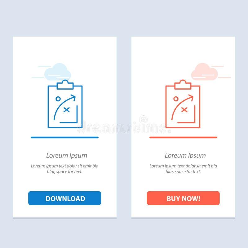 计划,战略,战略、战术、经济,市场,蓝色和红色下载和现在买网装饰物卡片模板 库存例证