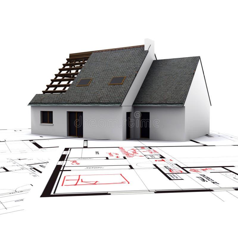 计划c房子红色 库存例证