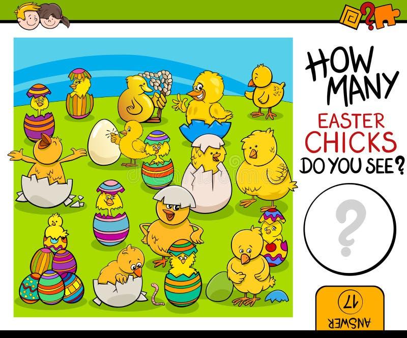 计数与复活节小鸡的任务 库存例证
