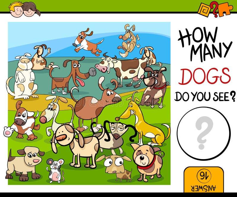 计数与被察觉的狗的比赛 向量例证