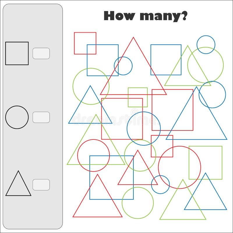 计数与颜色简单的几何形状的多少比赛孩子的,教育算术为逻辑思维的发展分配 向量例证