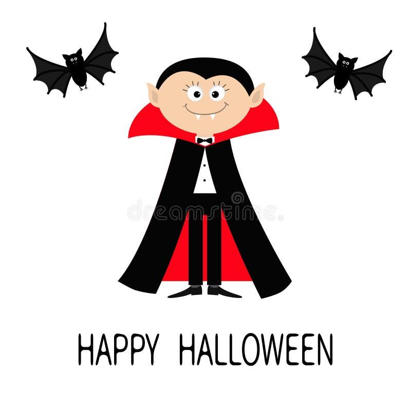 计数佩带黑和红色海角的德雷库拉 与犬齿的逗人喜爱的动画片吸血鬼字符 两飞行的棒动物 愉快的万圣节 平面 向量例证