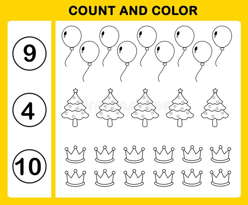 计数和颜色 向量例证