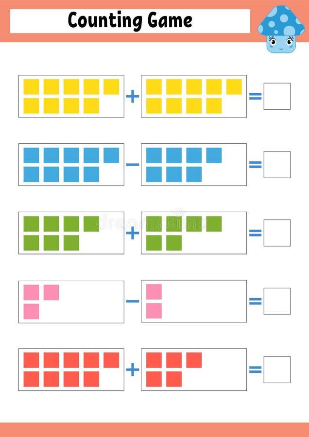 计数学龄前儿童的比赛 在加法和减法的教育数学比赛 孩子的活跃活页练习题 明亮的vecto 库存例证
