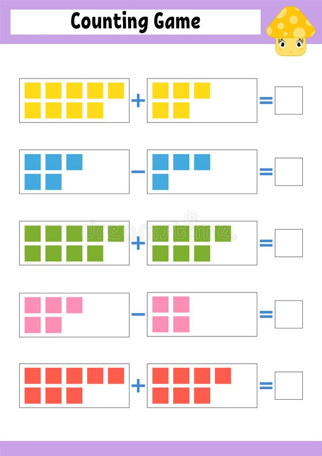 计数学龄前儿童的比赛 在加法和减法的教育数学比赛 孩子的活跃活页练习题 明亮的vecto 向量例证