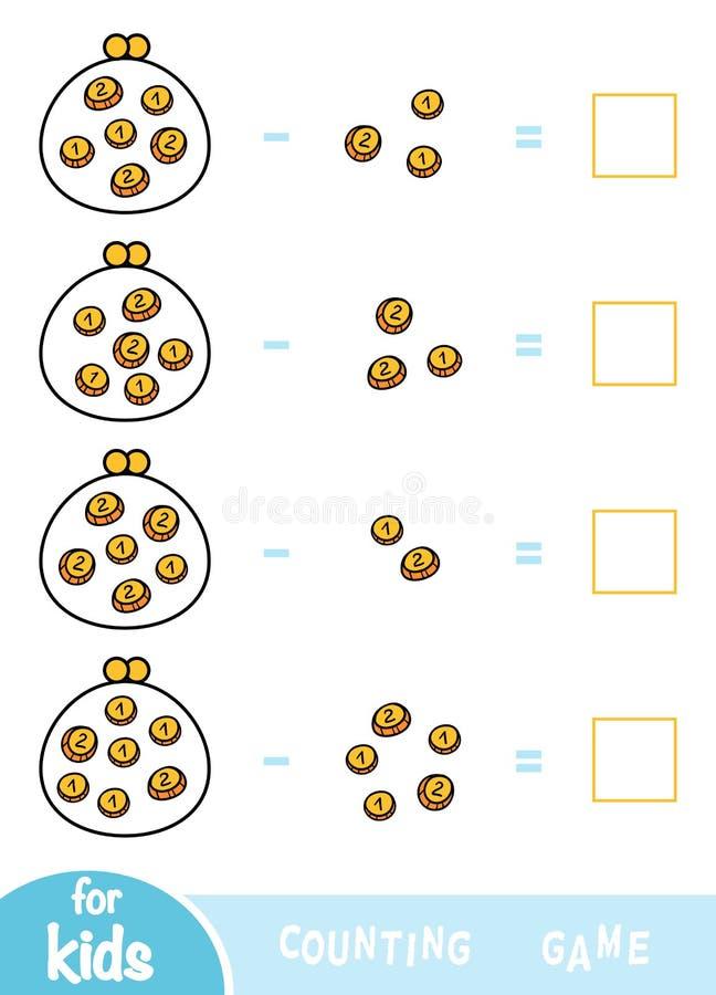 计数学龄前孩子的比赛 减法活页练习题 多少金钱在钱包里 库存例证