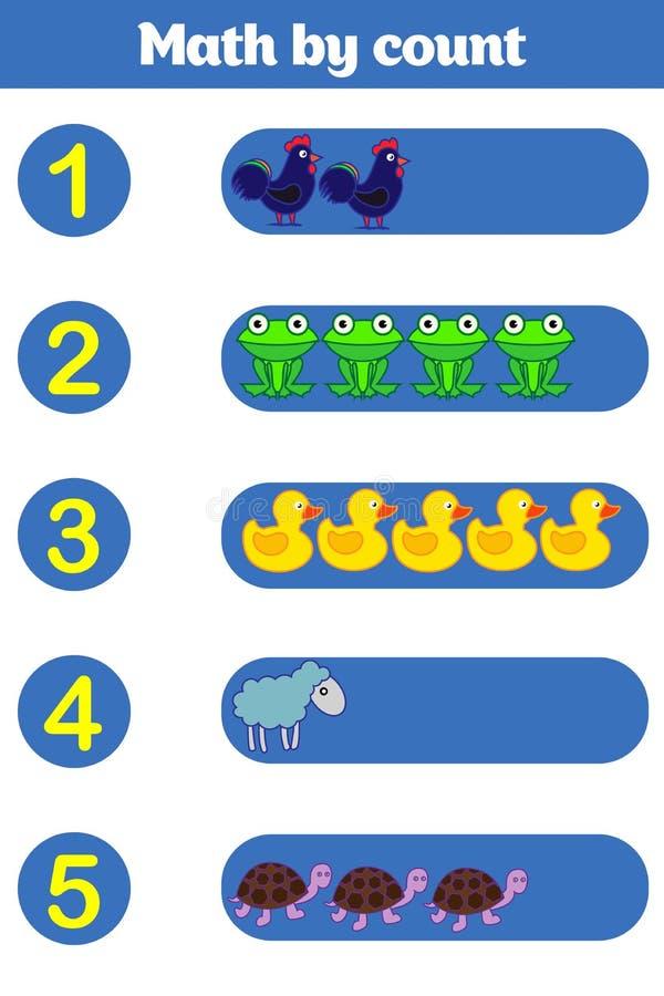 计数学龄前孩子的比赛 教育一场数学比赛 库存例证