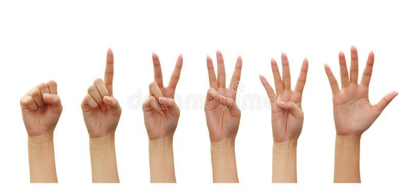 计数对妇女零的五个现有量编号 免版税图库摄影