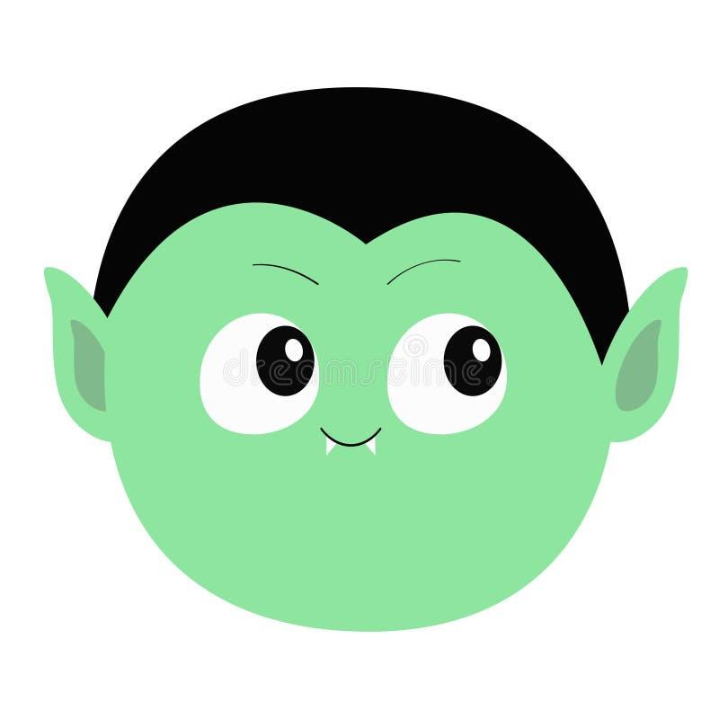 计数德雷库拉圆的头 逗人喜爱的动画片滑稽的鬼的吸血鬼婴孩字符 与犬齿的绿色面孔 2007个看板卡招呼的新年好 愉快的万圣节 向量例证