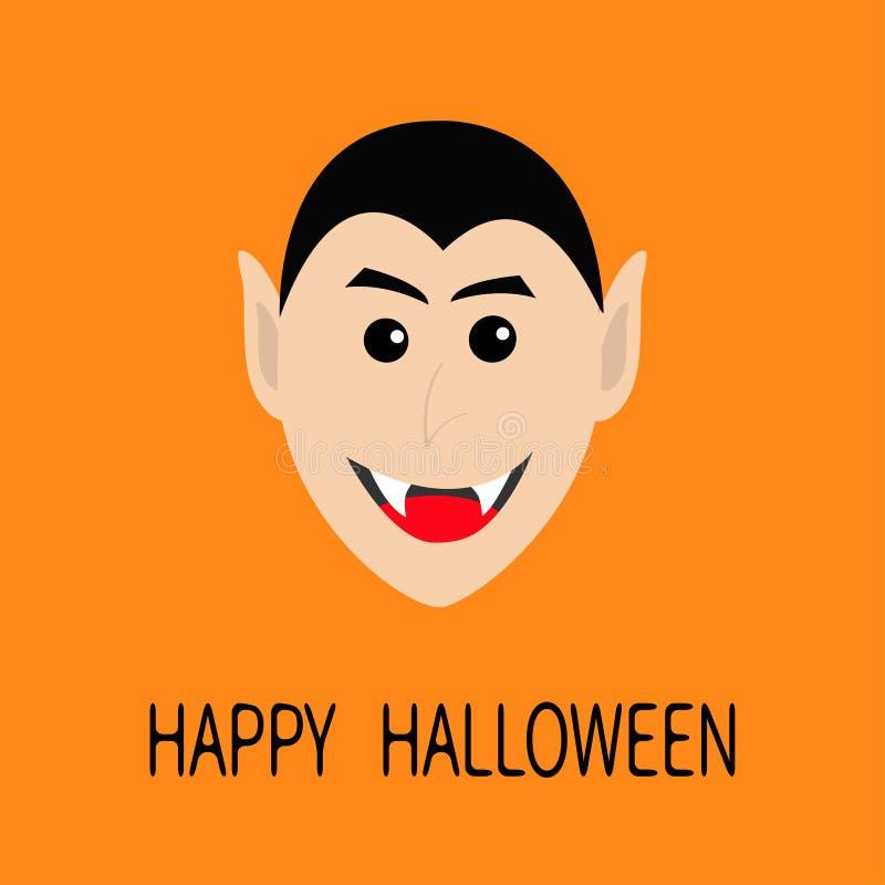 计数德雷库拉头微笑的面孔 与犬齿的逗人喜爱的动画片吸血鬼字符 愉快的万圣节 2007个看板卡招呼的新年好 平的设计 橙色ba 库存例证