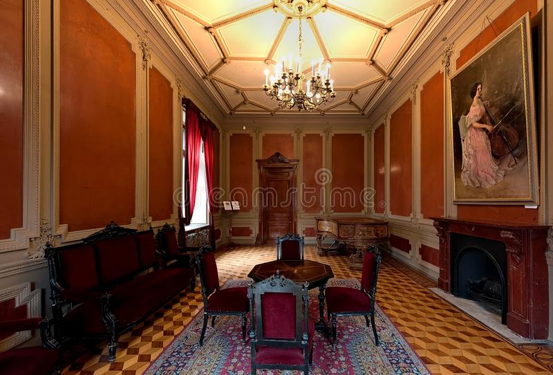计数托尔斯泰宫殿的内部,叫作科学家议院在Odesa,乌克兰 库存照片